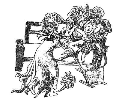'Jennet Francis sruggles with the fairies for her baby', gravure de T.H. Thomas tirée de 'British Goblins' de Wirt Sikes, Londres 1880