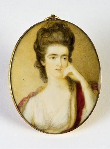 Princess Louisa Maximilienne of Stolberg-Gederb (1752-1824) miniature by Ozias Humphrey (1742 - 1810) painted ca 1775