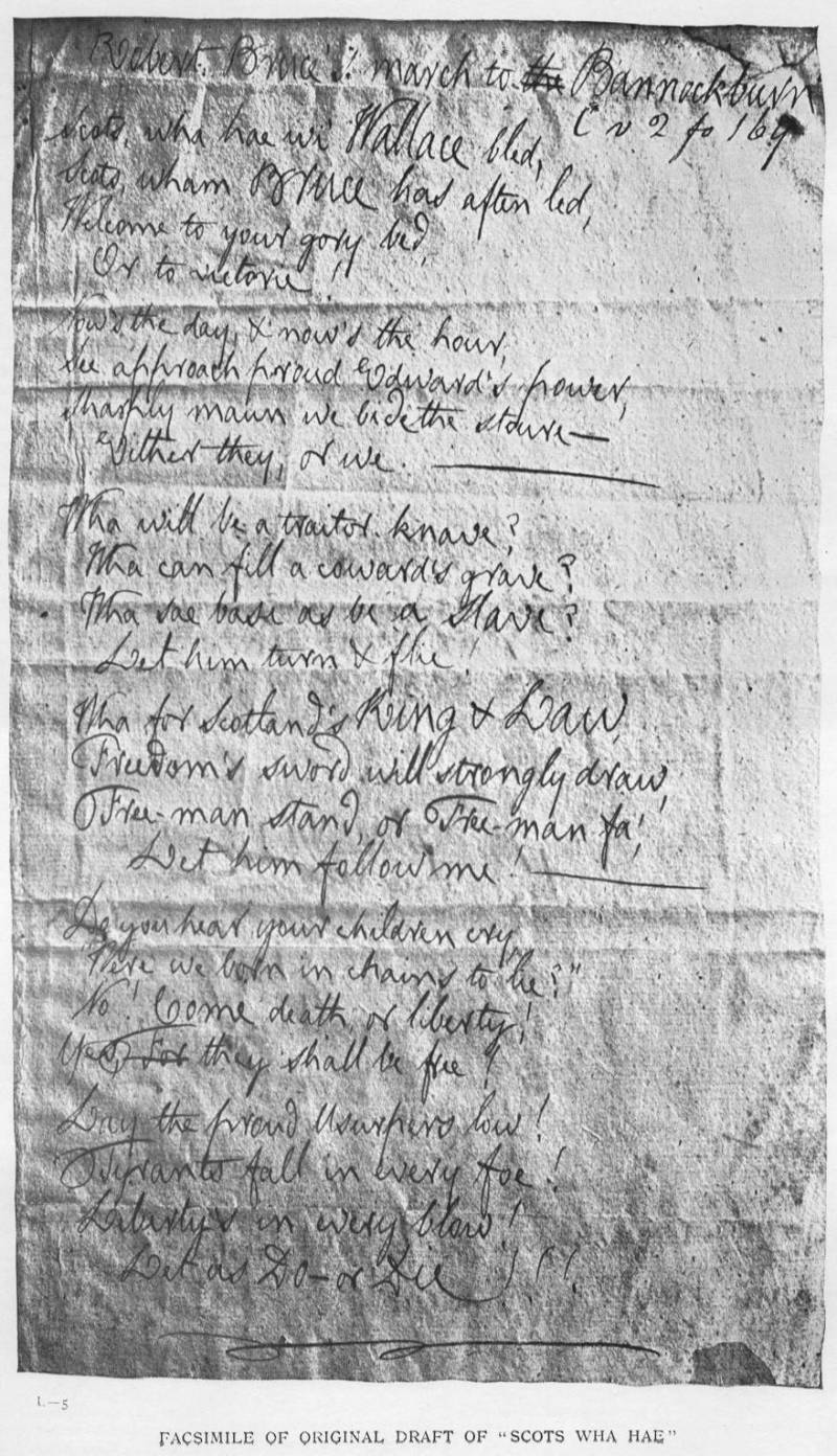 facsimile of Burns' handwriting