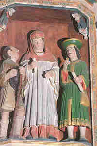 Saint Yves between the rich and the poor. Patron Saint of lawyers. La Roche Maurice (Fin.)